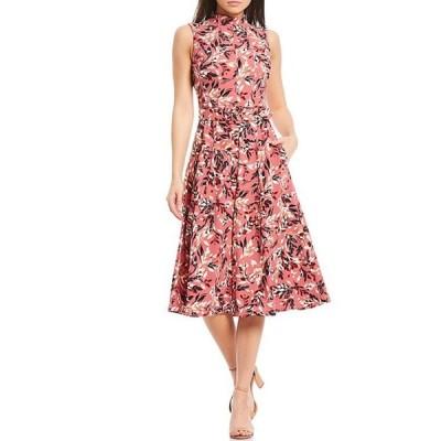 マギーロンドン レディース ワンピース トップス Mock Neck Floral Printed Satin Crepe Midi Dress