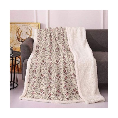 Flower Plush Blanket,Ornamental Pattern with Bedding Plants Retro 60s Styled Blossoms and Leaves Light Thermal Blanket,travel airplane compa