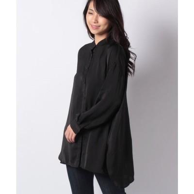 STYLEBLOCK ヴィンテージサテンバックスリットシャツ(ブラック)【返品不可商品】