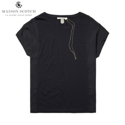 メゾンスコッチ MAISON SCOTCH 正規販売店 レディース 半袖Tシャツ Woven & jersey panelled tee 131229 90