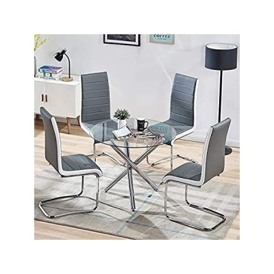 特別価格SICOTAS 5 Piece Round Dining Table Set for 4 Person, Modern Round Glass Tab好評販売中