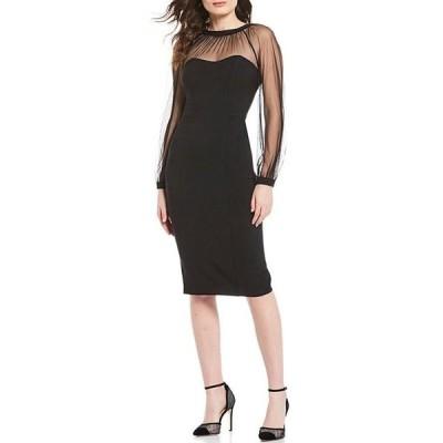 マギーロンドン レディース ワンピース トップス Illusion Sleeve Crepe Midi Sheath Dress