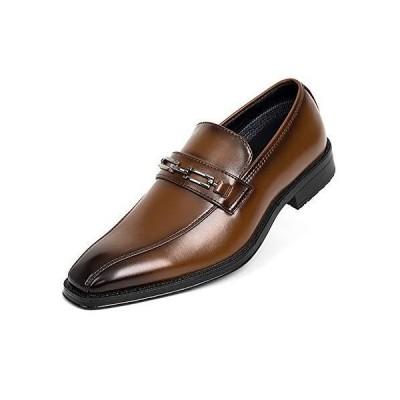 [Luffymomo] ビジネスシューズ 外羽根 メンズ 紳士靴 走れる 軽量 通気抗菌 ウォーキング(ブラウン1-26.5cm)