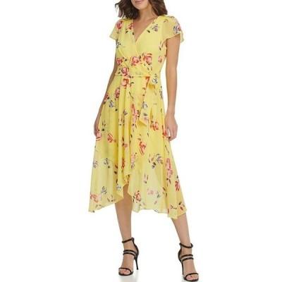 ダナ キャラン ニューヨーク レディース ワンピース トップス Short Flutter Sleeve V-Neck Wrap Floral Print Chiffon Midi Dress