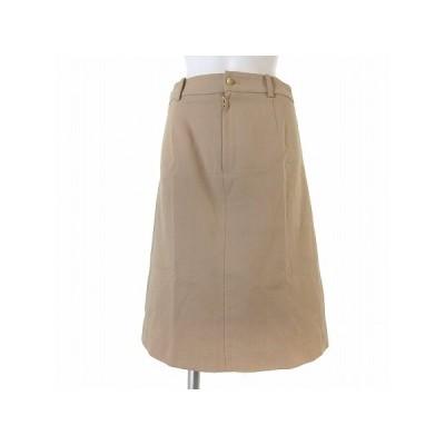 【中古】ドゥーズィエムクラス DEUXIEME CLASSE スカート 膝丈 フレア コットン 無地 タック ベージュ 36 ボトムス レディース 【ベクトル 古着】
