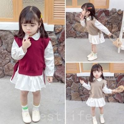 セットアップロングシャツ+ベストニットベストシャツワンピース春秋カワイイ女の子ベビー2点セットグレーワインレッドキッズ子ども服80cm-130cm