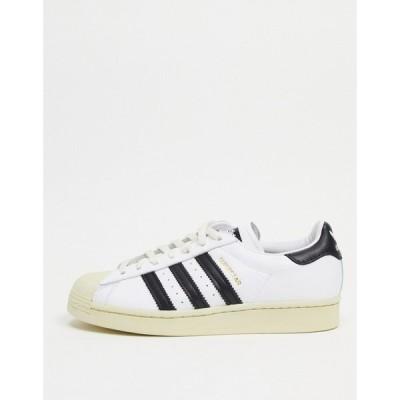 アディダス adidas Originals メンズ スニーカー シューズ・靴 Premium Superstar 80S Trainers In White ホワイト