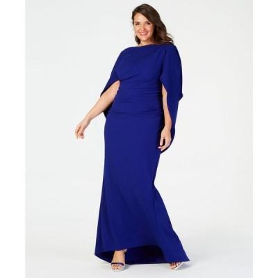 ベッツィアンドアダム Betsy & Adam レディース パーティードレス 大きいサイズ ワンピース・ドレス Plus Size Capelet Gown Marine Blue