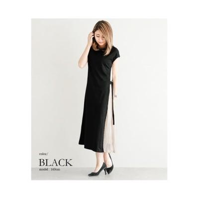 今年も再入荷。【la-gemme】サイドプリーツ切替カットソーワンピース (ワンピース)Dress
