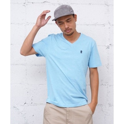 tシャツ Tシャツ [GIORDANO]ライオン刺繍VネックTシャツ