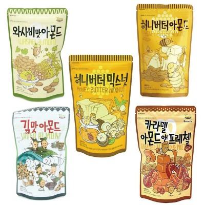 ハニーバターシリーズ 人気の選べる4袋セット/送料無料/韓国食品/おやつ/人気/ミックスナッツ/アーモンド/ワサビ味/キャラメル/のり味