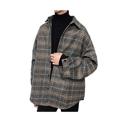BeiBang(バイバン)チェックシャツ メンズ ゆったり ネルシャツ チェック柄 ポロネック シャツ 厚手 カジュアル ?