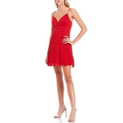 シティヴァイブ レディース ワンピース トップス V-Neckline Piped Waist Pleated Skirt Dress