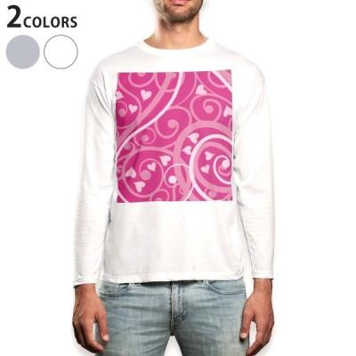 ロングTシャツ メンズ 長袖 ホワイト グレー XS S M L XL 2XL Tシャツ ティーシャツ T shirt long sleeve  ハート ピンク 004009