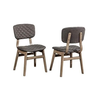 Hillsdale Alden Bay Diamond Stitch Upholstered Dining Chairs, Set of 2, Weathered Gray