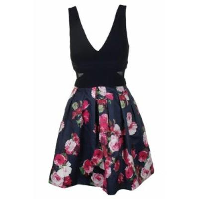 ファッション ドレス Xscape navy pink floral print sleeveless fit & flare