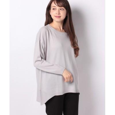 (Ranan/ラナン)裾切替ニットプルオーバー/レディース ライトグレー