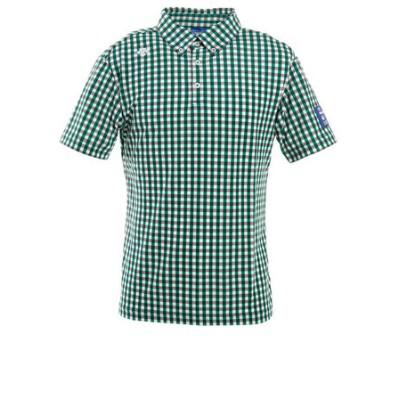 デサントゴルフ(DESCENTEGOLF)ゴルフ ポロシャツ メンズ チェックプリント鹿の子ボタンダウンシャツ DGMPJA33-GR00