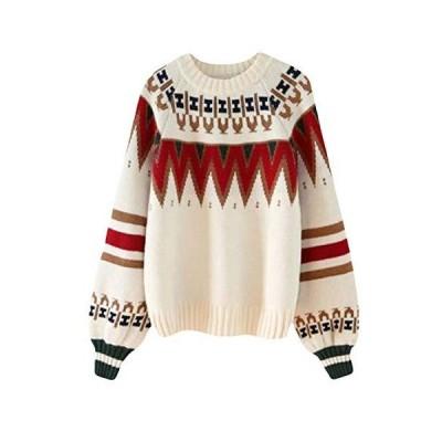 (ショッフェ)クルーネック ゆったり ニットセーター 長袖カジュアルプルオーバー 保温 暖かい ふわふわ ク?