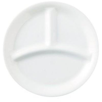 英山白 UK丸仕切皿 大 うすかる   ランチプレート 仕切り お子様ランチ シンプル 食器 業務用食器