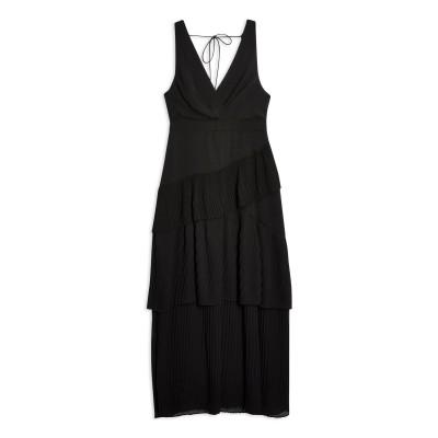トップショップ TOPSHOP ロングワンピース&ドレス ブラック 6 ポリエステル 100% ロングワンピース&ドレス