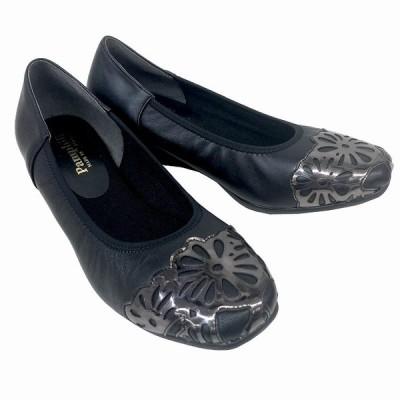 送料無料 パムフィリ Pamphili 3633 レディース パンプス ソフトレザー バックル ウエッジヒール 通勤靴 仕事靴 ブラック
