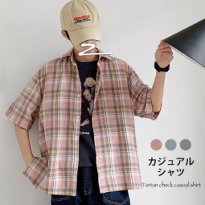 タータンチェック メンズ カジュアルシャツ シャツ チェック柄 チェックシャツ 半袖 半袖シャツ 角襟 ゆったり ゆるシャツ スリット入り