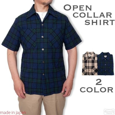 オープンカラーシャツ 半袖 チェック 開襟シャツ メンズ  半袖シャツ 綿麻シャツ チェックシャツ トラッド アイビー アメトラ