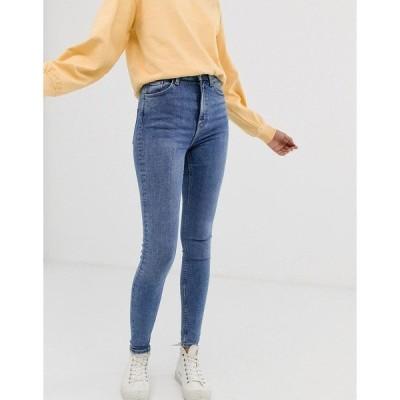 ウィークデイ レディース デニムパンツ ボトムス Weekday Body organic cotton high waist skinny jeans in mid blue Bleecker blue