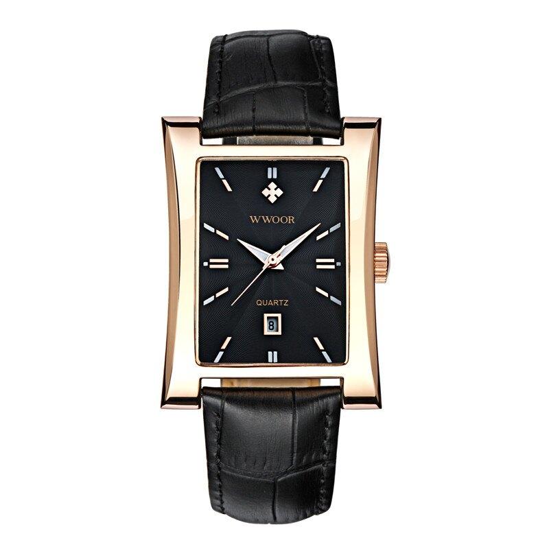 美琪 (簡約時尚)신사紳士休閒手錶 션時尚方形表盤日曆石英皮帶男腕錶시계