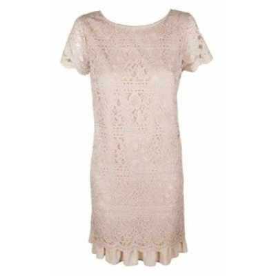 Vince ヴィンス ファッション ドレス Vince camuto pink. short sleeve flesh lace ruffled-hem sheath dress 12
