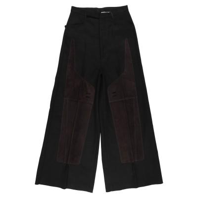 リック オウエンス RICK OWENS パンツ ブラック 48 コットン 60% / リネン 40% / 革 パンツ