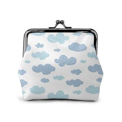 シンプル 雲 がま口財布 大容量 男女兼用 持ち運び便利 極細繊維レザー ミニウォレット 小銭入れ 小物入れ か?