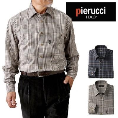 Pierucci ピエルッチ ウール入り チェック柄シャツ2色組 GV-016(シャツ メンズ 男性 チェック ネイビー系 ベージュ系)