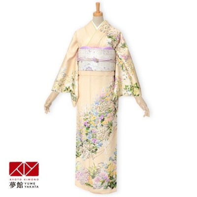 袷 訪問着 レンタル 結婚式 入学式 卒業式 クリーム色 花尽し 対応身長155〜159cm H866