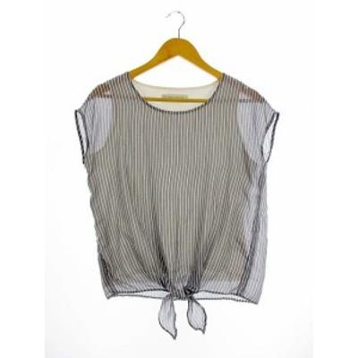 【中古】BEAUTY&YOUTH ビューティー&ユース 裾リボン  ストライプ レイヤード カットソー ブラウス フレンチスリーブ