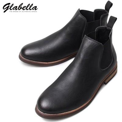 サイドゴアブーツ ショートブーツ PUレザー アンティーク ブーツ 靴 メンズ(ブラック黒) glbb155