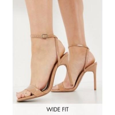 エイソス レディース ヒール シューズ ASOS DESIGN Wide Fit Nala barely there heeled sandals in beige Beige patent