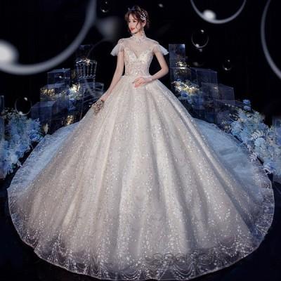 ウェディングドレス 結婚式 大きいサイズ 花嫁ドレス 二次会 トレーンライン プリンセスドレス ロングドレス 披露宴 花嫁 挙式 上品 2020新作【sssnetshop】