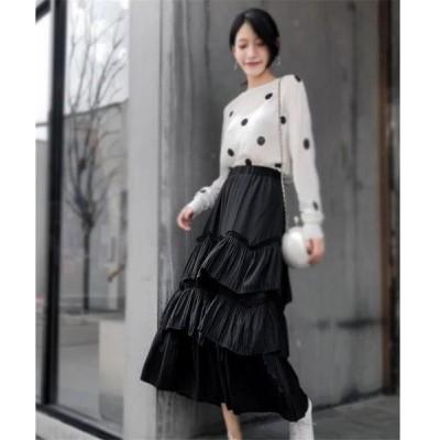 限定SALE価格 韓国ファッション 新品 秋冬物 中・長セクション 夏季 プリーツスカート Aラインスカート
