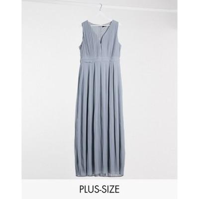 ティーエフエヌシー ドレス 大きいサイズ レディース TFNC Plus bridesmaid pleated sleeveless maxi dress in dusty blue エイソス ASOS ブルー 青