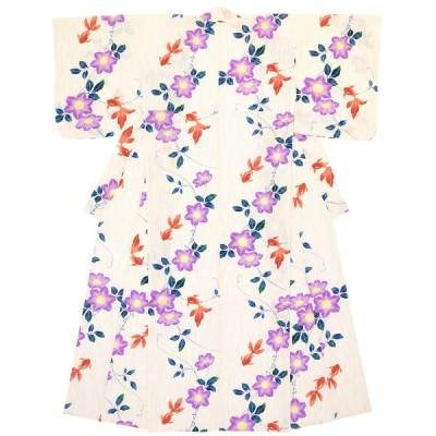 浴衣 レディース bonheur saisons 白系 紫 鉄線花 クレマチス 金魚 雨縞 綿 変わり織り 夏祭り 女性用 仕立て上がり 送料無料