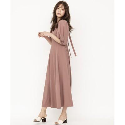 【アンドクチュール】 麻調バックリボンワンピース レディース ピンク M And Couture