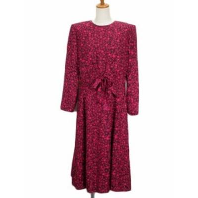 【中古】マリヨン MARION ワンピース ロング フレア 花柄 リボン 長袖 シルク 9 ピンク レディース