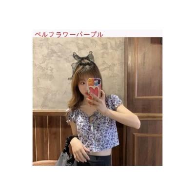 【送料無料】パフ フローラルショート シャツ 女 夏 韓国風 ネット レッド 着やせ   364331_A63244-9792643