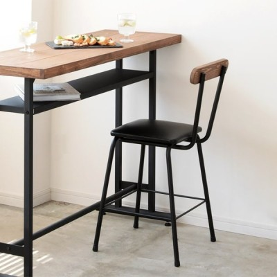カウンターチェア 背もたれ付き 木製 パイン無垢材 スツール チェア バーチェア ダイニング リビング おしゃれ いす 椅子 チェアー スチール ブレス BREATH