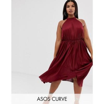 エイソス ASOS Curve レディース ワンピース ワンピース・ドレス ASOS DESIGN Curve high neck pleated midi dress Berry