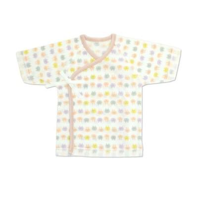 新生児肌着 5点セット クマうさぎ柄(短肌着3着,コンビ肌着2着)・日本製 ピンク