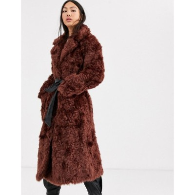 エイソスホワイト コート レディース ASOS WHITE faux fur belted coat エイソス ASOS