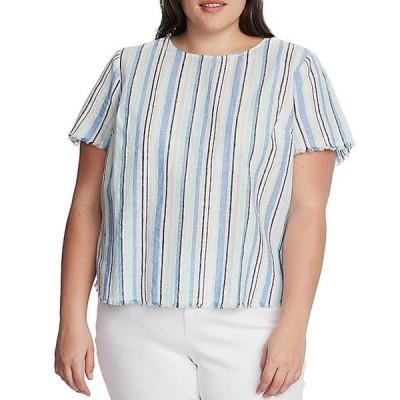 ヴィンスカムート レディース シャツ トップス Plus Size Short Sleeve Striped Linen Cotton Blend Frayed Hem Top